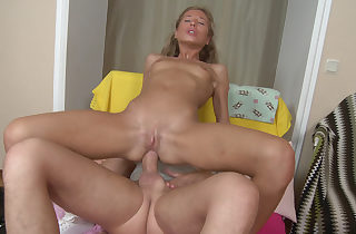 Slim chick loves anal