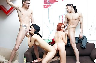 Awesome soiree hookup scene with a nasty redhead