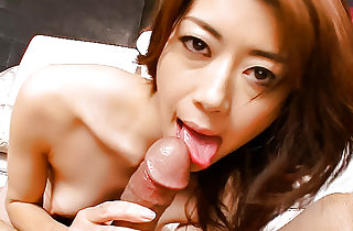 Horny Maki rubs up and down on a dick with her unshaved muff