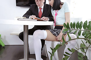 Jody toyed with her cunny while her tricky old schoolteacher was sucking her udders